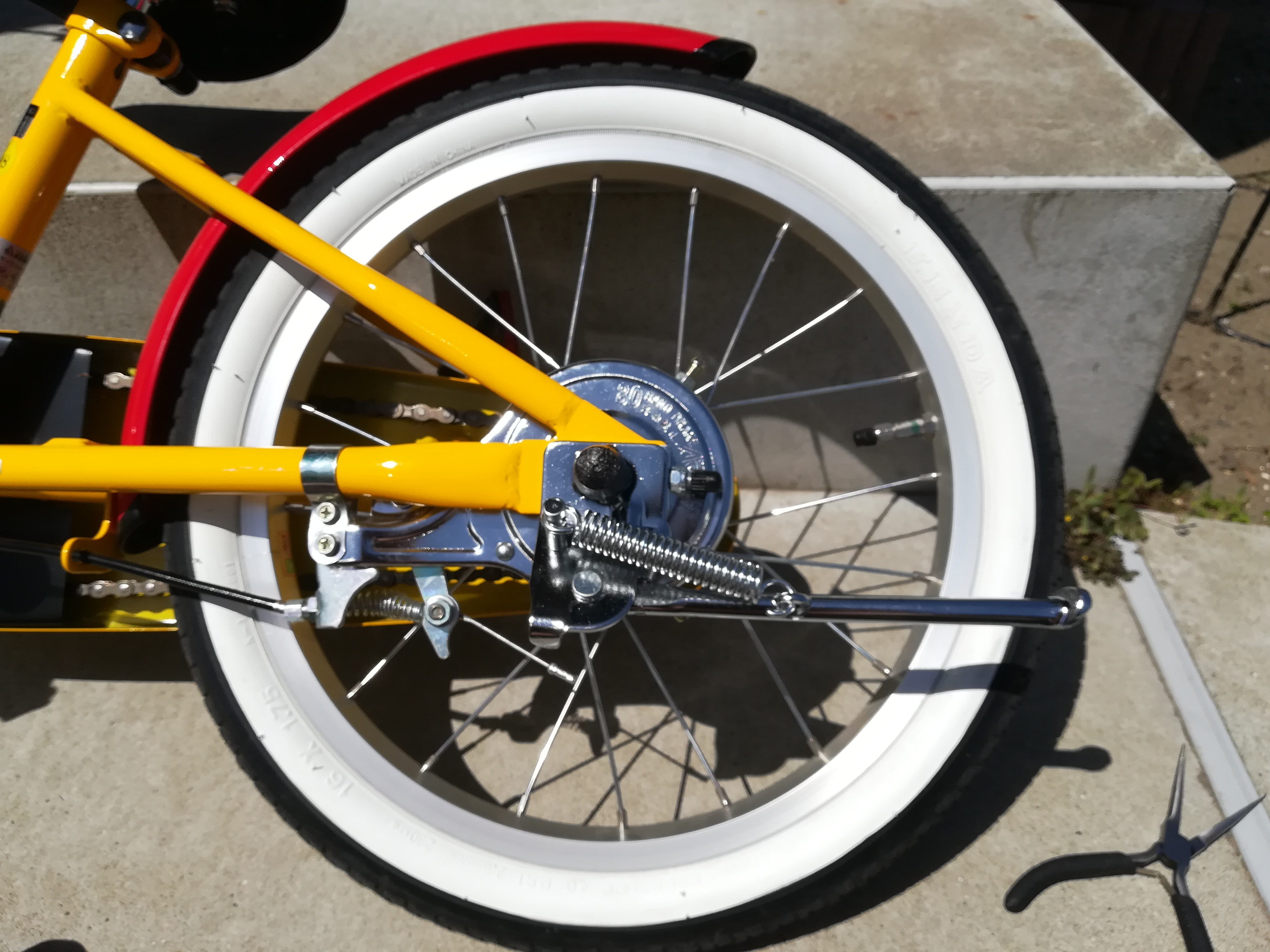 幼児用自転車スタンド取り付け後